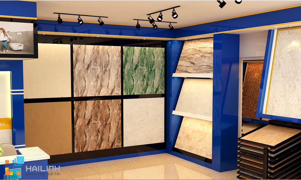 Showroom Hải Linh trưng bày và bán gạch lát nền Viglacera 80x80 Granite